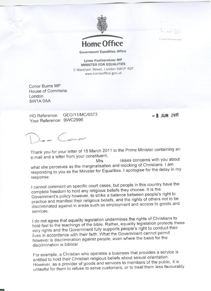 Lynne Featherstone MP states: UK Government legislation trumps the ...