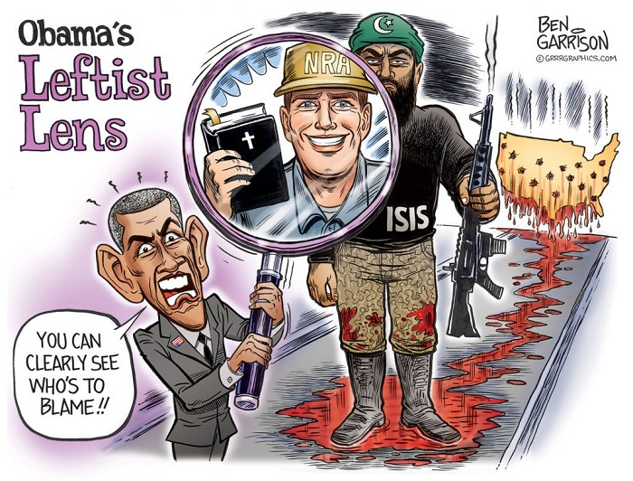 Obama's Leftist Lens blames Christians and NRA for ISIS attack