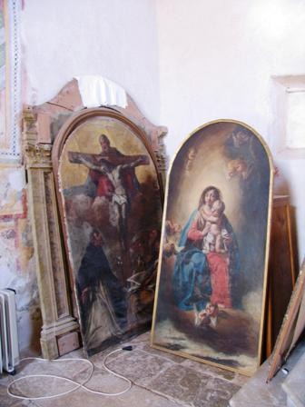 Old oil paintings of Christian scenes