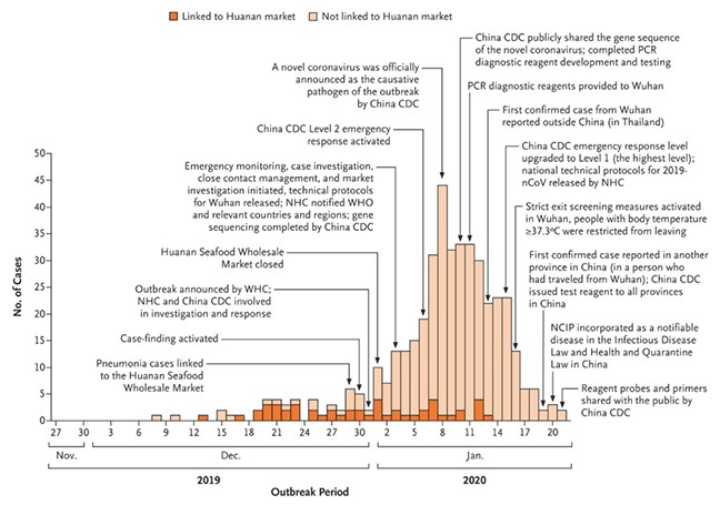 Chart showing Outbreak of Coronavirus Cases and their link or not to Huanan market